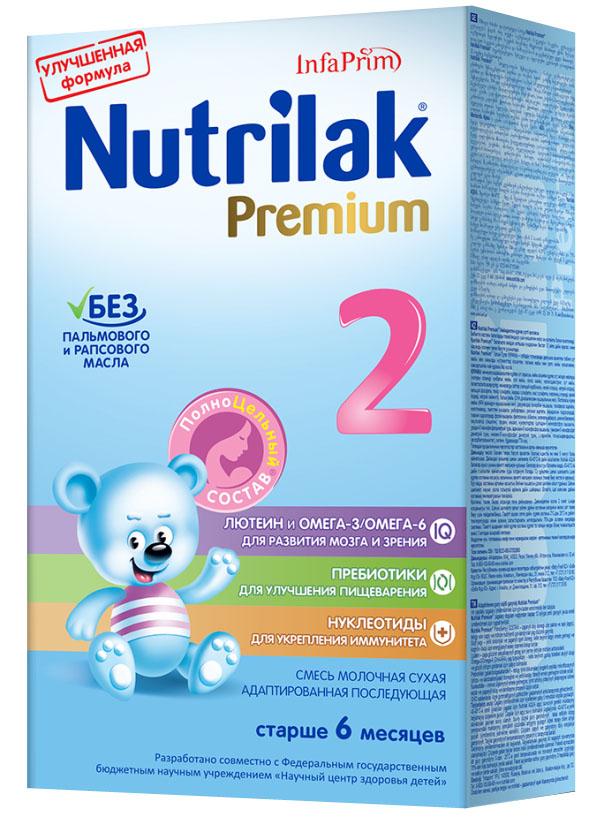 Nutrilak Premium+ 2 смесь молочная с 6 месяцев, 350 г8795Премиум 2 от Нутрилак – адаптированная начальная сухая молочная смесь с пребиотиками и ПолноЦельным СОСТАВОМ для смешанного и искусственного вскармливания детей. УНИКАЛЬНЫЙ СБАЛАНСИРОВАННЫЙ ЖИРОВОЙ СОСТАВ: Без пальмового и рапсового масла; натуральный молочный жир. ВАЖНЫЕ НУТРИЕНТЫ ДЛЯ РАЗВИТИЯ РЕБЕНКА: Омега-3/Омега- 6 (DHA/ARA) жирные кислоты; лютеин; пребиотики; нуклеотиды; витамины, макро- и микроэлементы. Смеси Премиум от Нутрилак разработаны совместно с ведущими специалистами Научного центра здоровья детей Министерства здравоохранения Российской Федерации.