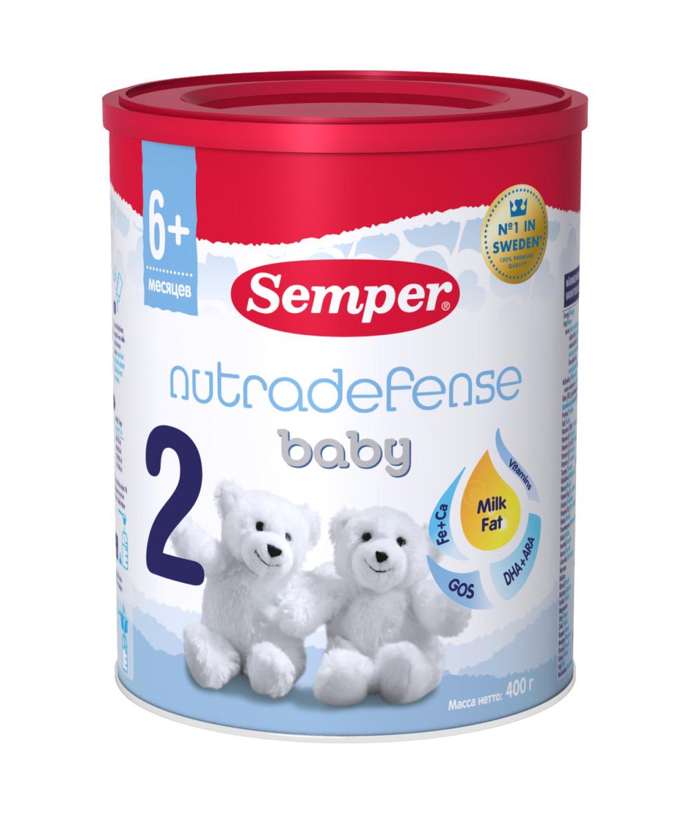 Semper ND Baby 2 смесь молочная с 6 месяцев, 400 г semper baby bifidus nutradefense 2 молочная смесь с 6 мес 400 гр