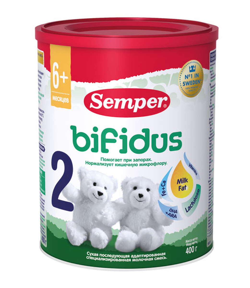 Semper Bifidus 2 смесь молочная с 6 месяцев, 400 г молочные смеси semper молочная смесь nutradefense 2 6 12 мес 400 г