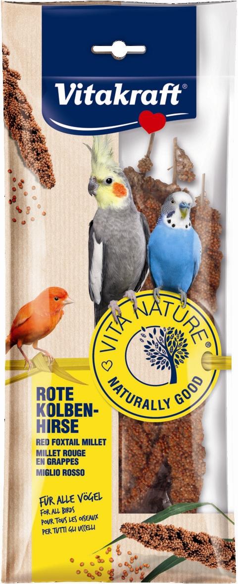 Лакомство для птиц Vitakraft Nature, просо красное, 80 г21117Лакомство для птиц красное просо. Имеет удобный держатель, крепящийся к клетке. Прекрасное дополнение к основному корму.Состав: просо красное. Товар сертифицирован.Уважаемые клиенты! Обращаем ваше внимание на возможные изменения в дизайне упаковки. Качественные характеристики товара остаются неизменными. Поставка осуществляется в зависимости от наличия на складе.