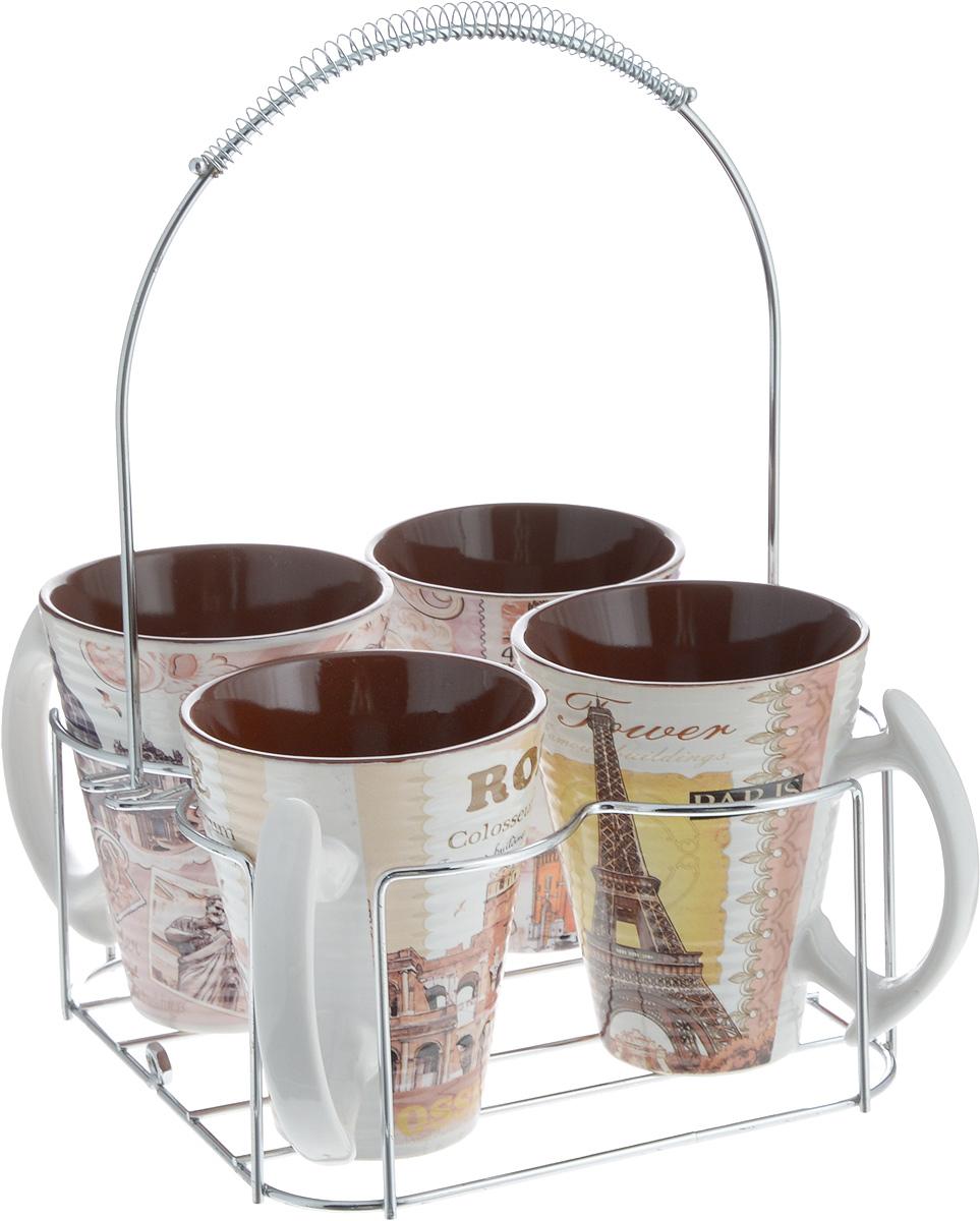 Набор кружек Loraine, на подставке, 320 мл, 5 предметов. 24660 набор кружек loraine coffee 5 предметов