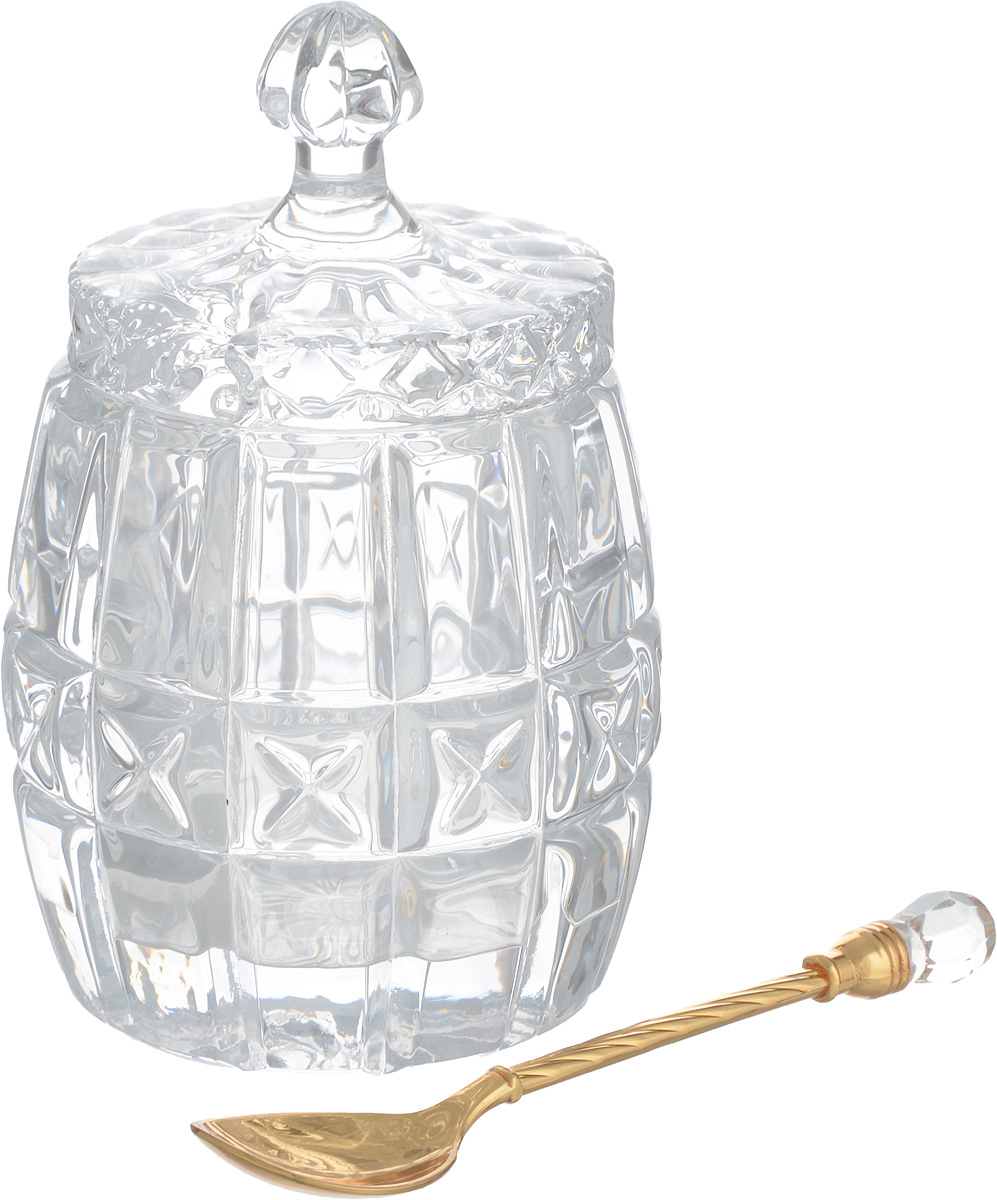 Горшочек для меда Elan Gallery Бочонок, с ложкой, 110 мл