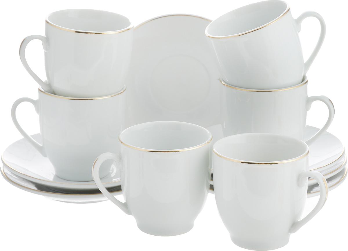 Набор кофейный Loraine, 12 предметов. 2560925609Набор изготовлен из качественной керамики. Керамика безопасна для здоровья и надолго сохраняет тепло напитка. Изысканно белый цвет с золотым декором придает набору элегантный вид. Объем чашки: 90 мл.Диаметр чашки: 6 см.Высота чашки: 5,5 см.Диаметр блюдца: 10,5 см.