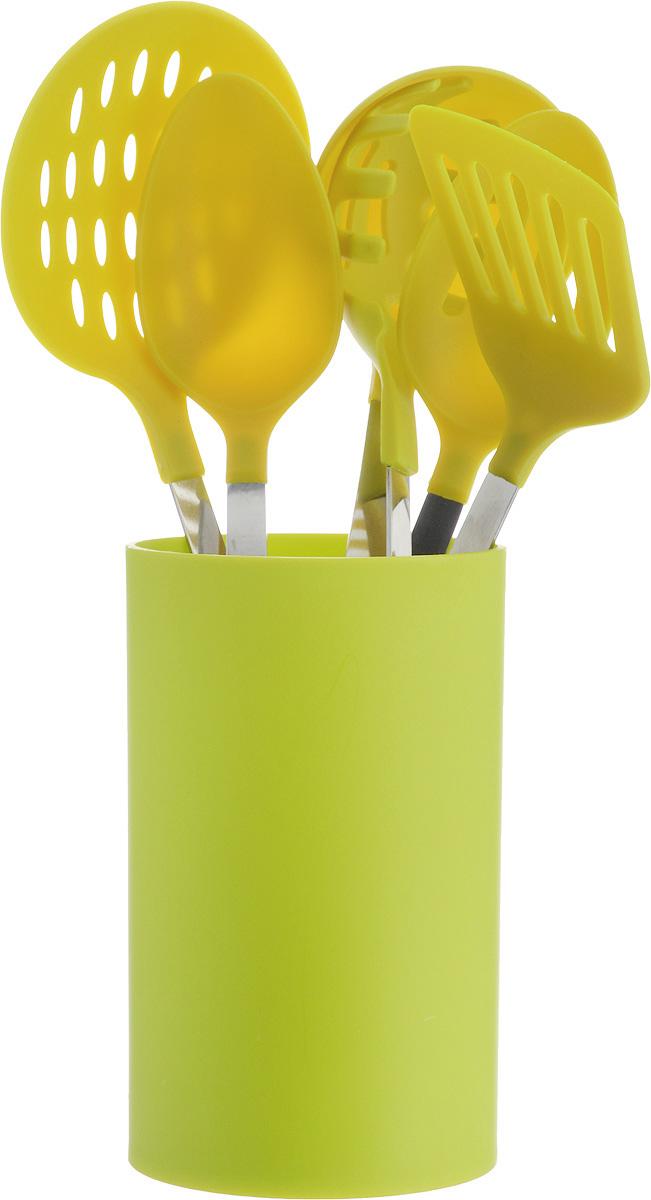 Набор половников изготовлен из полипропилена и нержавеющей стали. В набор вошли половник, ложка гарнирная, ложка для помешивания, лопатка с прорезями, шумовка, ложка для спагетти, подставка из  полипропилена.
