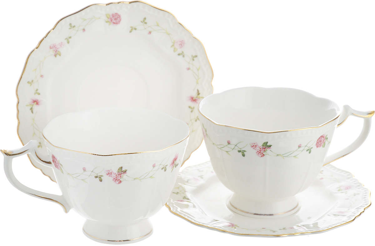 Чайная пара Elan Gallery Нежные розы, 4 предмета чайная пара нежные розы 275 мл 4 предмета в подарочной упаковке 801142