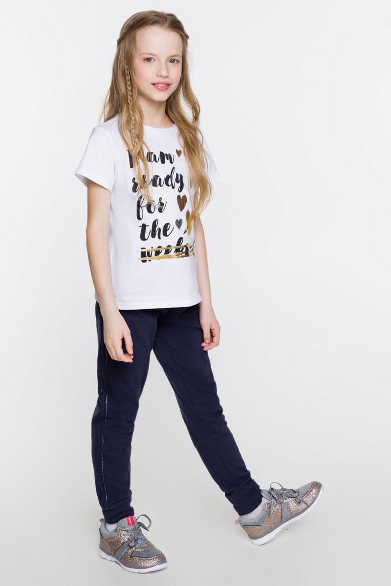 Футболка для девочки Acoola Grivna, цвет: белый. 20210110104_200. Размер 15220210110104_200Стильная футболка для девочки Acoola Grivna поможет создать модный повседневный образ и станет отличным дополнением гардероба. Модель прямого кроя с короткими рукавами изготовлена из эластичного трикотажа и оформлена контрастным принтом с надписью и сердечками. Круглый вырез горловины дополнен мягкой эластичной бейкой. Модель подойдет для прогулок и дружеских встреч и будет отлично сочетаться с джинсами и брюками, а также гармонично смотреться с юбками. Мягкая ткань на основе хлопка и полиуретана приятна на ощупь и комфортна в носке.