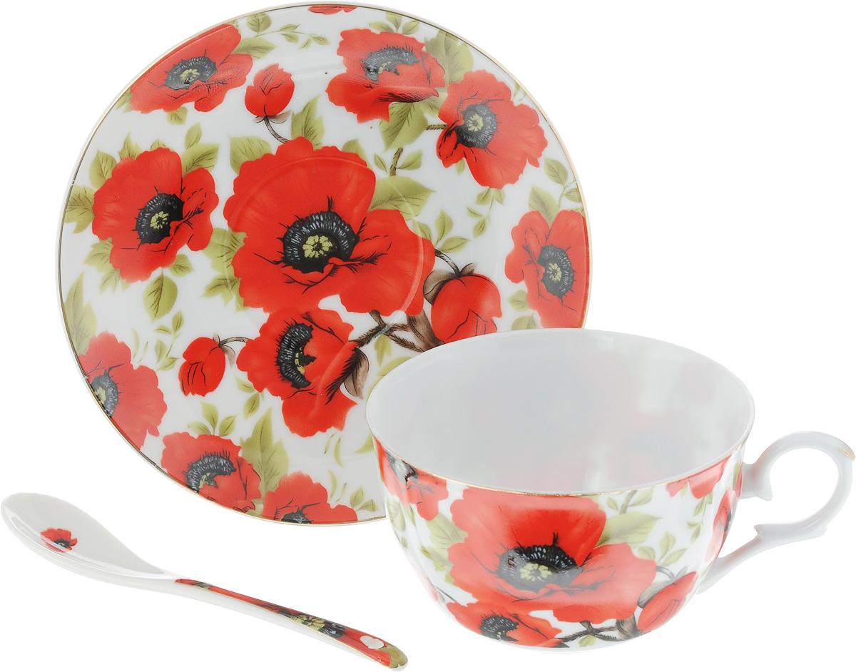 Чайная пара Elan Gallery Маки, 250 мл, 3 предмета730477Чайная пара Elan Gallery Маки состоит из чашки, блюдца и ложечки,изготовленных из высококачественной керамики. Предметы набора оформлены изящным цветочным рисунком. Чайная пара Elan Gallery Маки украсит ваш кухонный стол, а такжестанет замечательным подарком друзьям и близким.Изделие упаковано в подарочную коробку с атласной лентой. Объем чашки: 250 мл.Диаметр чашки по верхнему краю: 9,5 см.Высота чашки: 6 см.Диаметр блюдца: 14 см.Длина ложки: 13 см.