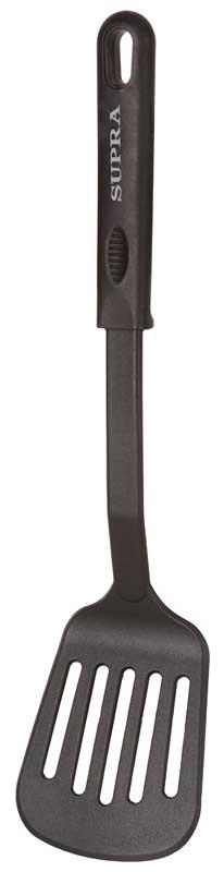 Лопатка Supra, щелевая, длина 32 смSA-T54SiTРабочая поверхность щелевой лопатки Supra создана из нейлона, благодаря чему она одновременно и гибкая, и прочная, и безопасная для вашего здоровья.Материал ручек - нескользящий и приятный на ощупь полипропилен.Широкая лопатка перемешивает быстрее, ей можно переворачивать большие куски мяса или целую рыбу, не боясь ее разрушить. Удобная подвесная петля делает лопатку легкой не только в использовании, но и в хранении.Максимальная температура нагрева - 210 градусов.
