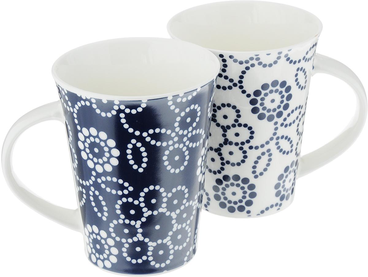 Набор кружек Elan Gallery Цветы, цвет: белый, синий, 320 мл, 2 шт