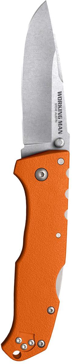Нож складной Cold Steel Steve Austin Working Man, цвет: оранжевый, длина клинка 3 1/2CS/54NVRYWorking Man — складной нож для повседневного ношения. Модель выпущена на рынок в 2017 году и полностью соответствует современным стандартам. Блестящие рабочие характеристики вкупе с оригинальным дизайном выгодно отличают изделие от аналогов. Прилагательное «рабочий» в названии информирует о том, что нож пригодится в городе и при выездах на природу.Твердость клинка согласно шкале Роквелла составляет 56–58 единиц. Он изготовлен из первоклассной немецкой стали. Продуманное соотношение углерода и хрома гарантирует устойчивость к коррозии, механическую прочность и стойкость режущей кромки. Клинок долго держит изначальную заточку. При интенсивной эксплуатации лезвие сохраняет окраску и привлекательный внешний вид.Нож превосходно режет, рубит, колет. Каплеобразный клинок при финишной обработке Stone wash покрыт сетью миниатюрных царапин. Матовая расцветка удачно маскирует мелкие дефекты, неизбежные при использовании. Благодаря этому же покрытию лезвие стало еще тверже и приобрело антибликовые свойства.Нож открывается одним движением. Двусторонний шпенек обеспечивает комфорт для правшей и левшей. Функция надежной фиксации клинка возложена на усовершенствованный классический замок Back-Lock. Необходимо отметить полное отсутствие люфтов.Рукоять сделана из усиленного углеродным волокном полиамида. Материал устойчив к механическим повреждениям, повышенной влажности, агрессивным средам. Рукоять с шероховатой поверхностью удобно ложится в ладонь, гарантирует надежное сцепление. Упор предохраняет пальцы от соскальзывания на лезвие.