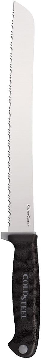 Нож кухонный Cold Steel Bread Knife, цвет: черный, длина клинка 9CS/59KSBRZСерия Kitchen Classics от Cold Steel отличается высококачественными клинками из стали холодной закалки марки German 4116 с криообработкой и прецизионной заточкой, обеспечивающей исключительные эксплуатационные характеристики.Все модели этой серии имеют острую как бритву кромку, сохраняющую свою режущую способность на протяжении долго времени. Некоторые ножи идут с серрейторной заточкой и идеально отвечают своему предназначению.Ножи серии Kitchen Classics можно приобретать по отдельности или в наборе. В него входит красивая дубовая настольная подставка, по одному из каждой представленной здесь модели и 6 ножей для стейка.Рукоять ножей Kitchen Classics теперь имеет новый дизайн, обеспечивающий надежный, но удобный хват. Жесткая внутренняя часть рукоятки Zy-Ex для долговечности и более мягкая часть из совместимого с пищевыми продуктами пластика Kray Ex для предотвращения соскальзывания – это то, что нужно попробовать, чтобы оценить.Более удобный и уверенный хват, удивительно легкая чистка – новая усовершенствованная серия Kitchen Classics лучше, чем когда-либо.