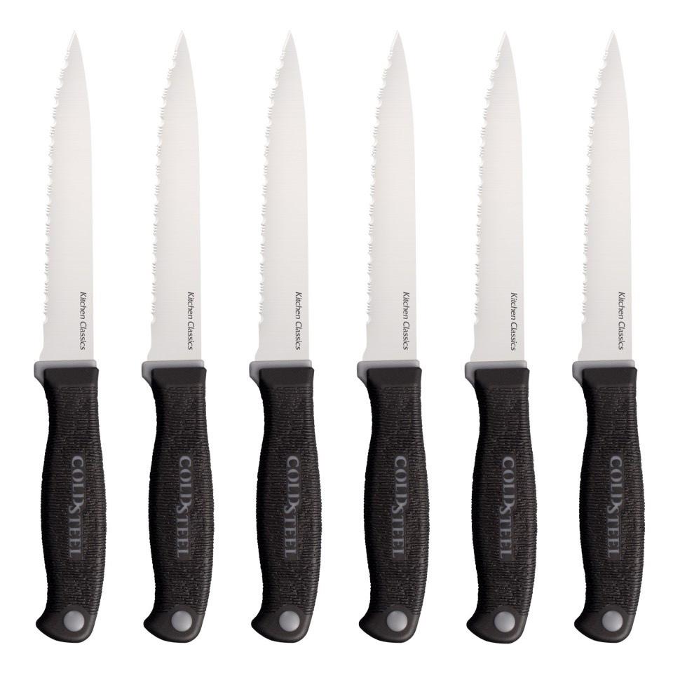 Серия Kitchen Classics от Cold Steel отличается высококачественными клинками из стали холодной закалки марки German 4116 с криообработкой и прецизионной заточкой, обеспечивающей исключительные эксплуатационные характеристики.Все модели этой серии имеют острую как бритву кромку, сохраняющую свою режущую способность на протяжении долго времени. Некоторые ножи идут с серрейторной заточкой и идеально отвечают своему предназначению.Ножи серии Kitchen Classics можно приобретать по отдельности или в наборе. В него входит красивая дубовая настольная подставка, по одному из каждой представленной здесь модели и 6 ножей для стейка.Рукоять ножей Kitchen Classics теперь имеет новый дизайн, обеспечивающий надежный, но удобный хват. Жесткая внутренняя часть рукоятки Zy-Ex для долговечности и более мягкая часть из совместимого с пищевыми продуктами пластика Kray Ex для предотвращения соскальзывания – это то, что нужно попробовать, чтобы оценить.Более удобный и уверенный хват, удивительно легкая чистка – новая усовершенствованная серия Kitchen Classics лучше, чем когда-либо.