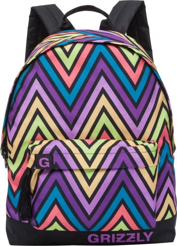 Рюкзак городской женский Grizzly, цвет: фиолетовый, 12,5 лRD-750-6Рюкзак Grizzly выполнен из высококачественного полиэстера и оформлен оригинальным принтом. Изделие имеетодно отделение, объемный карман на молнии на передней стенке, укрепленную спинку, дополнительную ручку-петлю и укрепленные лямки. Внутри расположен подвесной карман на молнии.