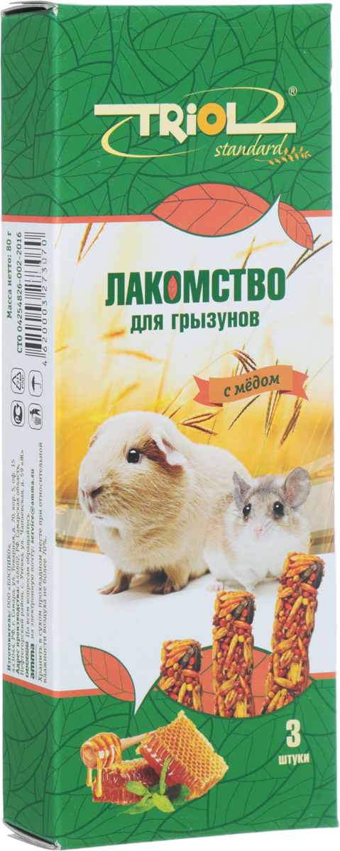Лакомство для грызунов Triol, с медом, 3 шт корм для животных triol лакомство для грызунов с мёдом уп 3 шт