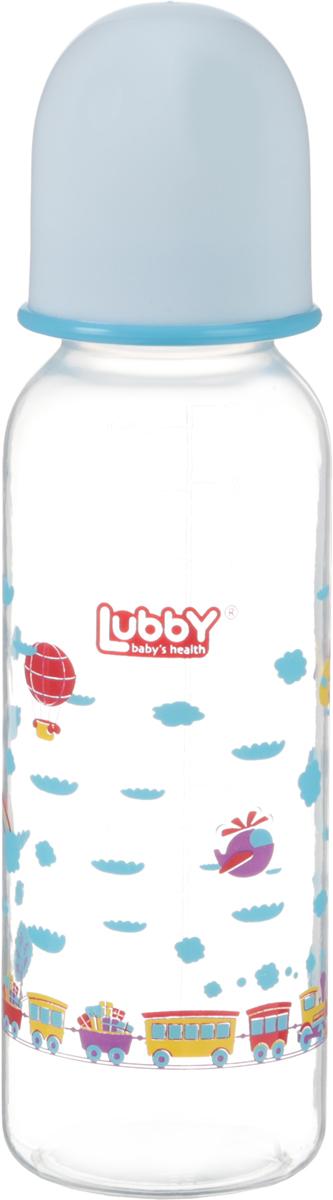 Lubby Бутылочка для кормления с силиконовой соской Малыши и малышки от 0 месяцев цвет голубой 250 мл