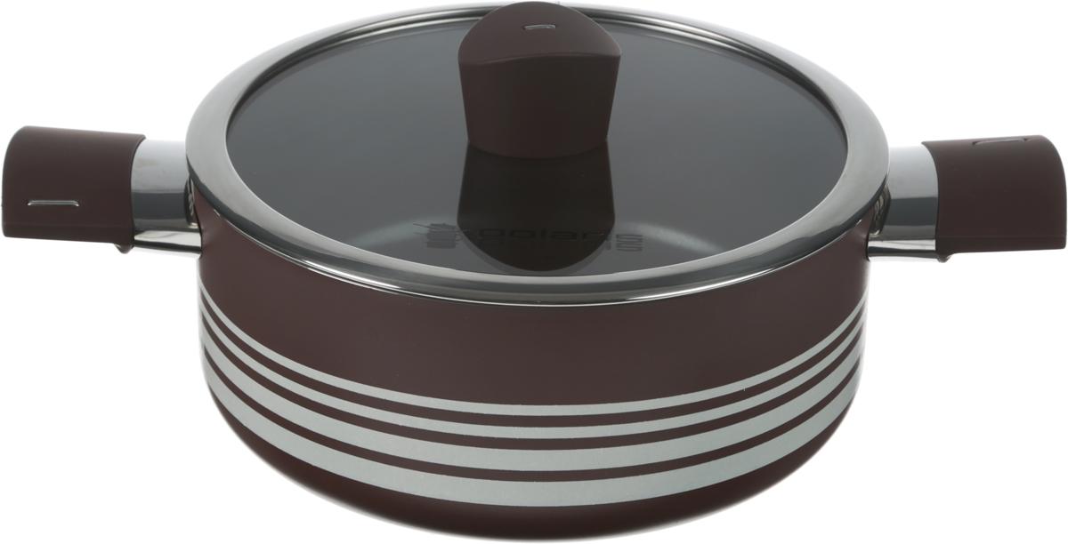 Кастрюля Polaris Allure с крышкой, с антипригарным покрытием, 2,8 л. AL-20CAL-20C_коричневый, бежевыйКастрюля Polaris Allure выполнена из литого алюминия и оснащена удобными бакелитовыми ручками с покрытием Soft Touch. Благодаря внутреннему износостойкому антипригарному покрытию пища не пригорает и не прилипает к стенкам. Готовить можно с минимальным количеством масла и жиров. Гладкая поверхность обеспечивает легкость ухода за посудой. Изделие оснащено крышкой из жаропрочного стекла с отверстием для выпуска пара.Посуда равномерно распределяет тепло и обладает высокой устойчивостью к деформации, легкая и практичная в эксплуатации. Подходит для использования на электрических, газовых и стеклокерамических плитах. Не подходит для индукционных плит и для духовых печей. Нельзя мыть в посудомоечной машине. Диаметр кастрюли (по верхнему краю): 20 см. Диаметр дна: 17 см.Высота стенки: 8,5 см. Ширина (с учетом ручек): 31,5 см.