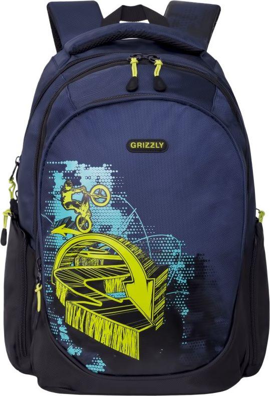 Рюкзак городской мужской Grizzly, цвет: темно-синий, 15,7 л рюкзаки grizzly рюкзак