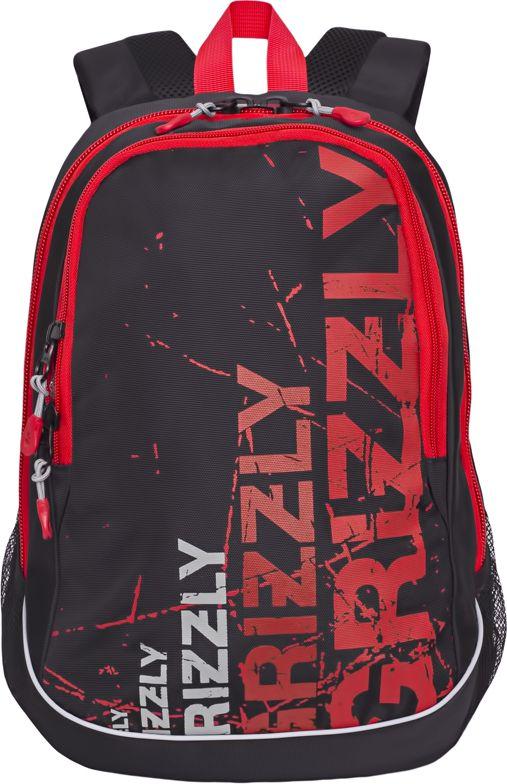 Рюкзак городской мужской Grizzly, цвет: черный, красный, 11,1 лRU-721-1Рюкзак Grizzly выполнен из высококачественного полиэстера и оформлен оригинальным принтом. Изделие имеет два отделения, боковые карманы из сетки, анатомическую спинку, дополнительную ручку-петлю и укрепленные лямки. Внутри расположен карман-пенал для карандашей и подвесной карман на молнии.