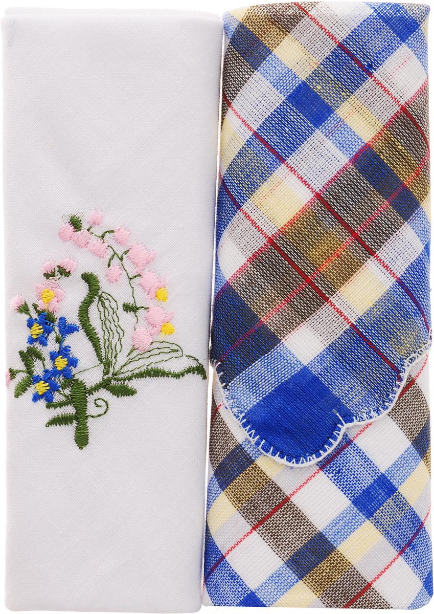Платок носовой женский Zlata Korunka, цвет: мультиколор, 2 шт. 40222-12. Размер 29 см х 29 см