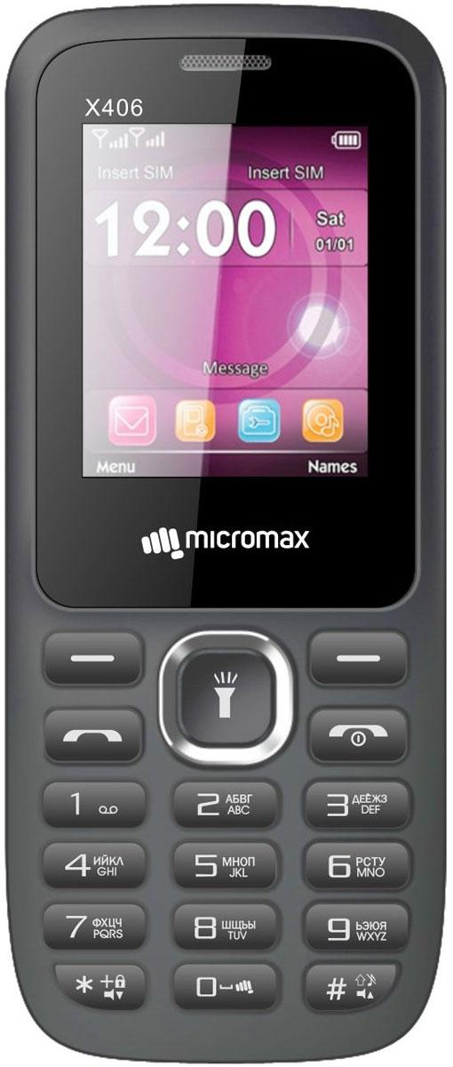 Micromax X406, GreyT033629Micromax X406 - сотовый телефон с классическим корпусом и емким аккумулятором. В распоряжении пользователя все необходимые функции и возможности.Благодаря поддержке работы с двумя сим-картами, вы имеете возможность совмещать тарифные планы мобильных операторов и практически круглосуточно оставаться на связи.Телефон воспроизводит аудио- и видеофайлы распространенных форматов, поэтому его можно использовать в качестве плеера.Встроенной памяти будет недостаточно для хранения плейлиста, но ее всегда можно расширить используя карту памяти. Устройство оснащается достаточно громким динамиком.Телефон сертифицирован EAC и имеет русифицированную клавиатуру, меню и Руководство пользователя.