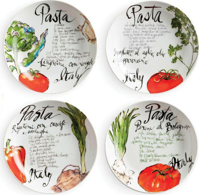 Набор тарелок для пасты Rosanna Pasta Italiana, 4 шт38305Любите пасту? Или вообще итальянскую кухню? Коллекция посуды Pasta Italiana от бренда Rosanna придаст итальянское настроение вашим обедам иобеспечит им небрежную изысканность.Все предметы коллекции сделаны из настоящего фарфора, и силуэт каждой из них неповторим и очарователен.Упаковка тоже имеет индивидуальный дизайн, поэтому такая посуда будет идеальным подарком.Не рекомендуется использовать в микроволновой печи во избежание появления трещин.