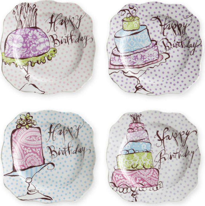 Набор тарелок Rosanna Happy Birthday, 4 шт. 58303 гирлянда алфавит винни happy birthday