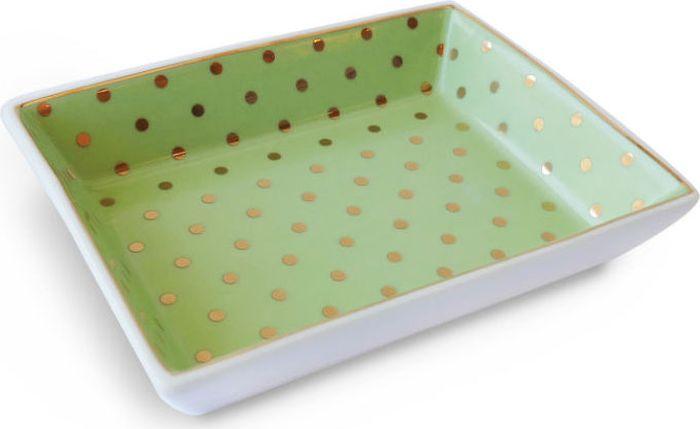 Поднос Rosanna Dots Green Gold, цвет: оливковый, золотой96169Посуда из коллекции Dots Green Gold создана для настоящих леди! Поднос Rosanna Dots Green Gold сделан из настоящего фарфора в изысканных расцветках и не оставит ни одну хозяйку равнодушной.Не рекомендуется использовать в микроволновой печи во избежание появления трещин.