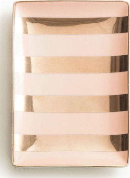 Поднос декоративный Rosanna Stripes Pink Gold 96183