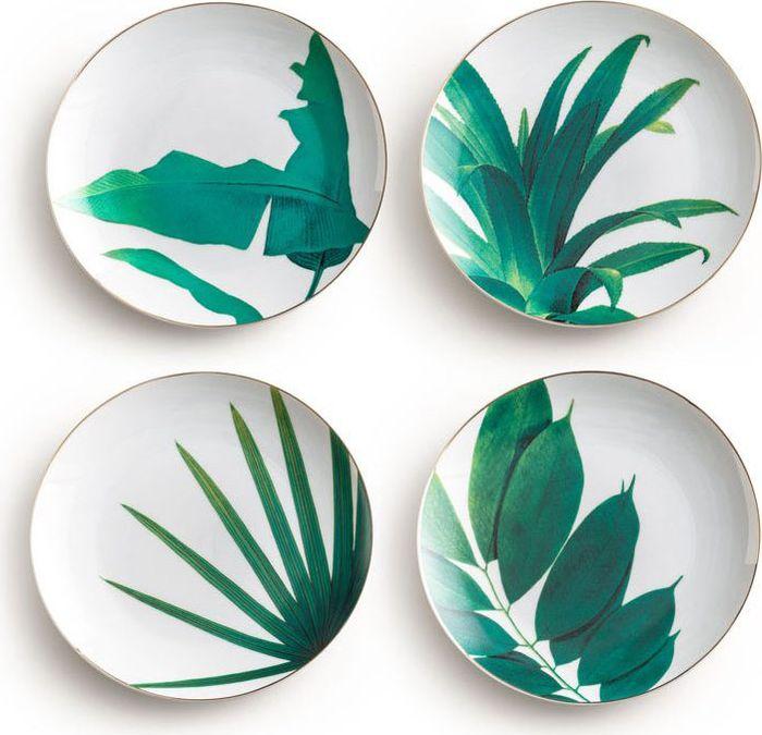Набор тарелок Rosanna Botanical, 4 шт96521Набор Rosanna Botanical состоит из четырех тарелок, оформленных стильным принтом. Изделия, изготовленные из высококачественного фарфора, с внешнейстороны выполнены с глазурованным покрытием. Такой набор будет не только отличнымподарком, но и порадует вас за столом.