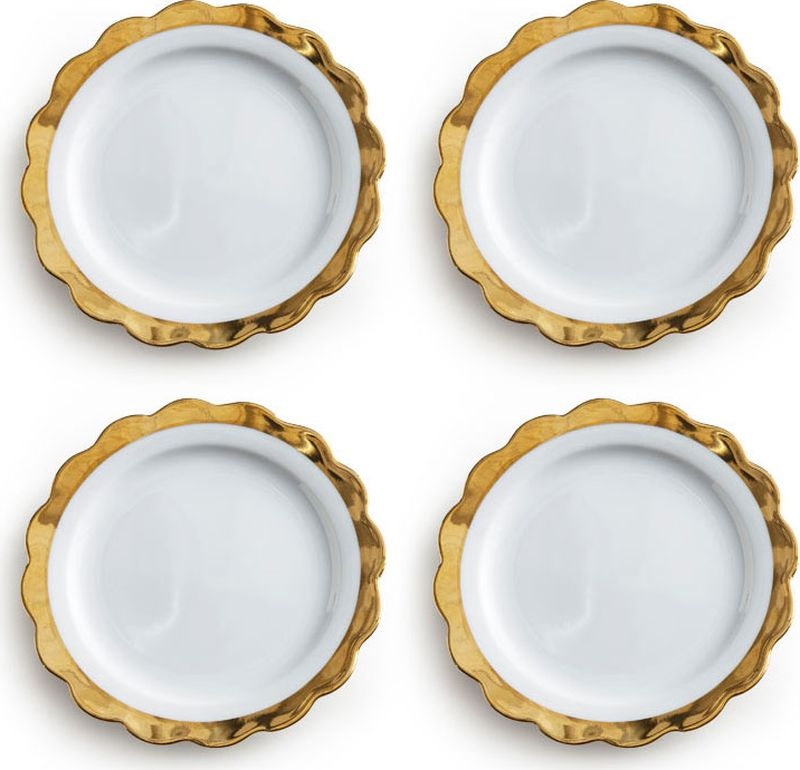 Набор тарелок Rosanna Scallop, 4 шт96550Отметьте праздник весело и безмятежно в обезоруживающе дерзком стиле коллекции Lets Party. В основе серии — посуда из настоящего фарфора, который дополняет золото, поэтому дизайн выглядит необычно и привлекательно. Каждый предмет коллекции упакован в свою фирменную коробку с отдельным дизайном, что еще сильнее подчеркивает особенность этой серии.