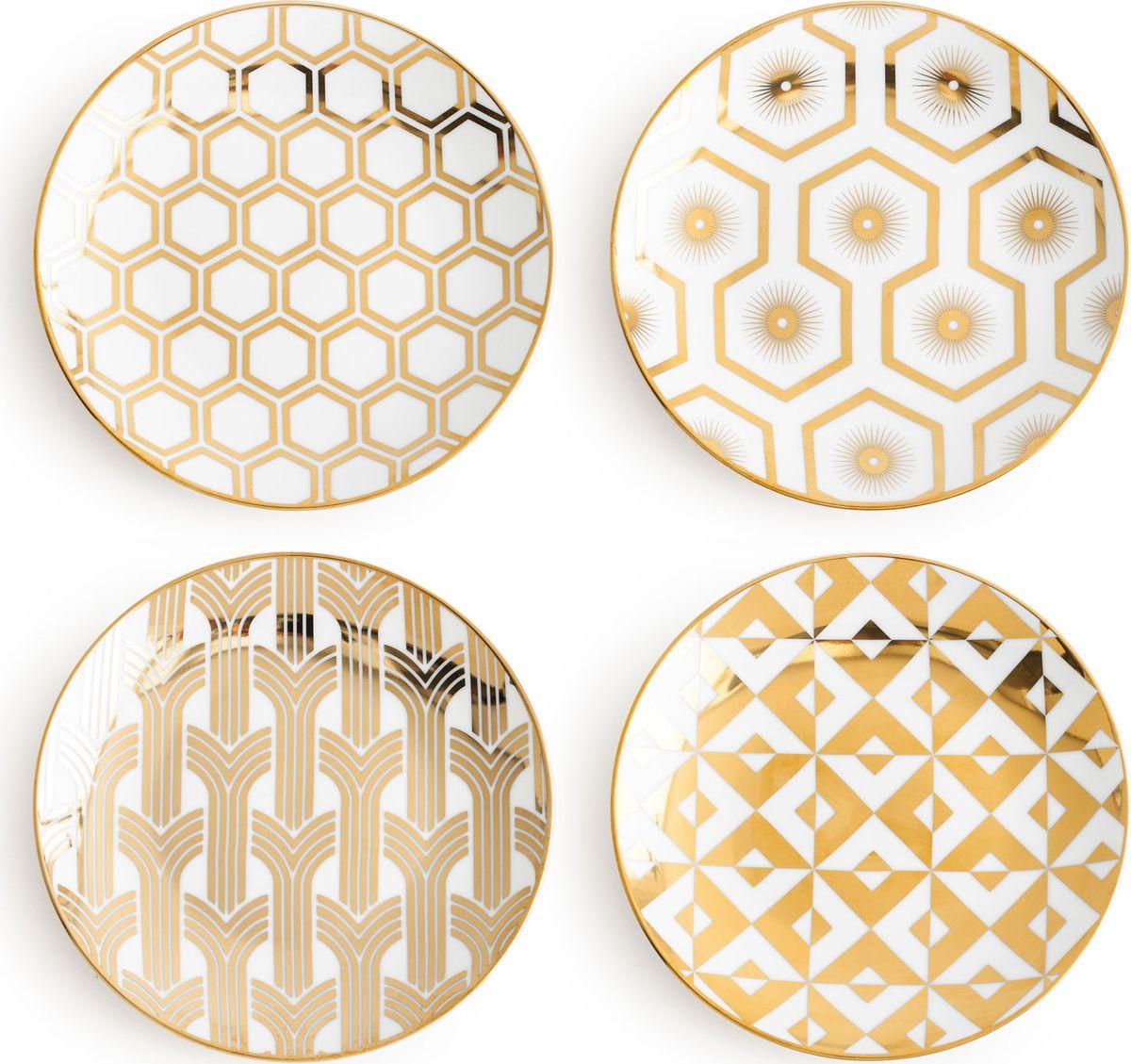 Набор тарелок Rosanna Jazz Age, 4 шт. 968530910012Набор Rosanna Jazz Age состоит из четырех тарелок, оформленных ярким, оригинальнымгеометрическим принтом. Изделия, изготовленные из высококачественного фарфора, с внешнейстороны выполнены с глазурованным покрытием. Такой набор будет отличным подарком, атакже порадует вас за столом.