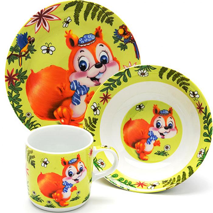 Набор посуды Loraine Белочка, 3 предмета24025Набор посуды Loraine сочетает в себе изысканный дизайн с максимальной функциональностью. В набор входят суповая тарелка, обеденная тарелка и кружка.Предметы набора выполнены из высококачественной керамики, декорированы красочным рисунком. Благодаря такому набору обед вашего ребенка будет еще вкуснее. Набор упакован в красочную, подарочную упаковку. Диаметр суповой тарелки: 15 см.Диаметр обеденной тарелки: 17,5 см.Объем кружки: 230 мл.