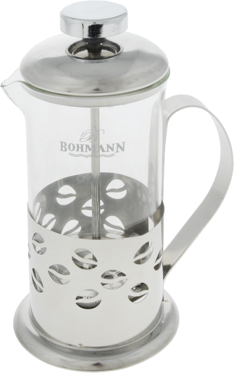 """Френч-пресс """"Bohmann"""" используется для заваривания крупнолистового чая, кофе среднего помола, травяных сборов. Изготовлен из высококачественной нержавеющей стали и термостойкого стекла, выдерживающего высокую температуру, что придает ему надежность и долговечность. Френч-пресс """"Bohmann"""" незаменим для любителей чая и кофе.Можно мыть в посудомоечной машине.Объем: 350 мл.Высота (с учетом крышки): 18 см.Диаметр (по верхнему краю): 7,5 см."""