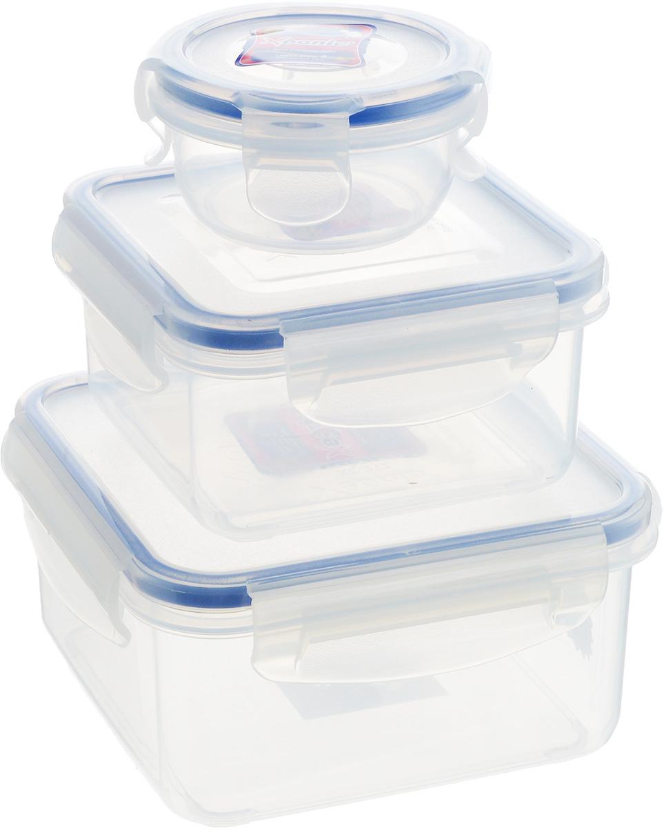 Набор контейнеров Xeonic, цвет: прозрачный, синий, 3 шт810200Набор контейнеров Xeonic состоит из трех контейнеров, предназначенных для хранения и транспортировки пищи. Изделия выполнены из высококачественного пищевого полипропилена. Крышки с силиконовой вставкой герметично защелкиваются специальным механизмом. Контейнеры удобно складываются друг в друга, что экономит пространство при хранении в шкафу. Можно мыть в посудомоечной машине и использовать в СВЧ.Объем контейнеров: 90 мл, 450 мл, 830 мл. Размер контейнеров (по верхнему краю): 8 см х 8 см; 11,5 см х 11,5 см; 14 см х 14 см.Высота контейнеров: 5,5 см; 6 см; 7,5 см.