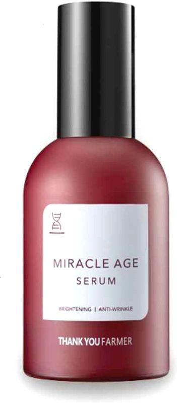 Thank You Farmer Восстанавливающий антивозрастной серум, 60 млTYF11Роскошная концентрированная формула работает не только внутри кожи, но и формирует защитный барьер на её поверхности, в отличии от обычных серумов, которые слишком быстро впитываются.Thank You Farmer Miracle Age Serum подходит также для подтяжки кожи на шее и подбородке.- рекомендован коже с преждевременными признаками старения, потерявшей упругость и здоровый цвет лица, шелушащейся и шершавой;- подходит для общего улучшения состояния кожи, а также для локального применения на мимические морщины, носогубные складки;- skin-friendly - дружественный коже состав легко и качественно усваивается кожей;- легкий отбеливающий эффект.