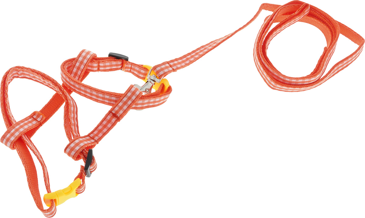 Комплект для кошек GLG Шотландка, цвет: оранжевый, белый, 2 предметаOH12/D_оранжевыйКомплект для кошек GLG Шотландка включает в себя два предмета - шлейку и поводок, выполненные из нейлона. Шлейка снабжена пластиковыми застежками-фастекс и регуляторами длины. Поводок крепится к шлейке с помощью металлического карабина. Правильно подобранная шлейка не стесняет движения питомца, не натирает кожу, поэтому животное чувствует себя в ней уверенно и комфортно. Максимальный обхват шеи: 32 см.Максимальный обхват груди: 54 см.Длина поводка: 112 см.
