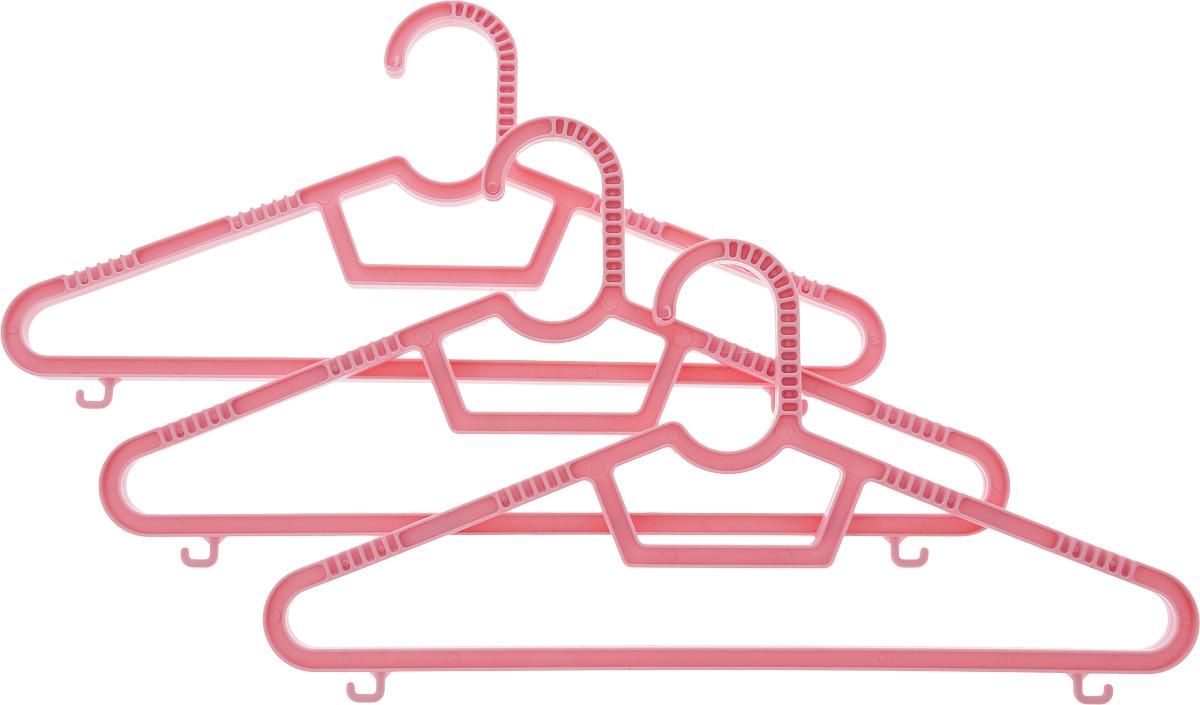 """Набор вешалок """"Полимербыт"""" выполнен из пластика. Изделия оснащены перекладинами и крючками.  Вешалка - это незаменимая вещь для того, чтобы ваша одежда всегда оставалась в хорошем состоянии.  Размер одежды: 40-42."""