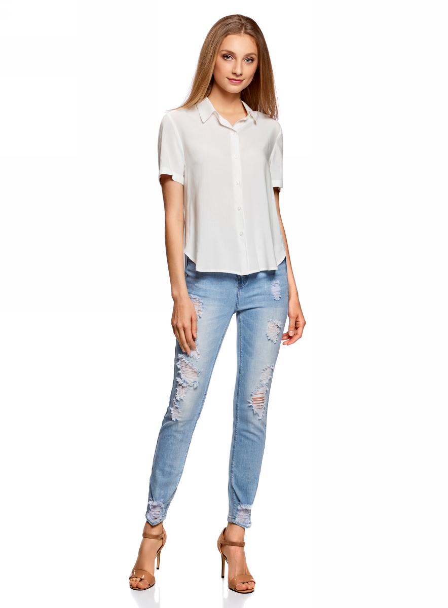Блузка женская oodji Ultra, цвет: белый. 11411137B/14897/1200N. Размер 42 (48-170) блузка женская oodji ultra цвет белый 11411062 1 43291 1200n размер 36 170 42 170