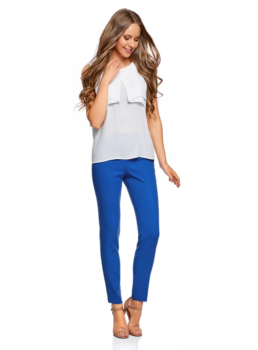 Брюки женские oodji Collection, цвет: синий. 21700199-2B/31291/7500N. Размер 38 (44-170) женские брюки 2015 ol