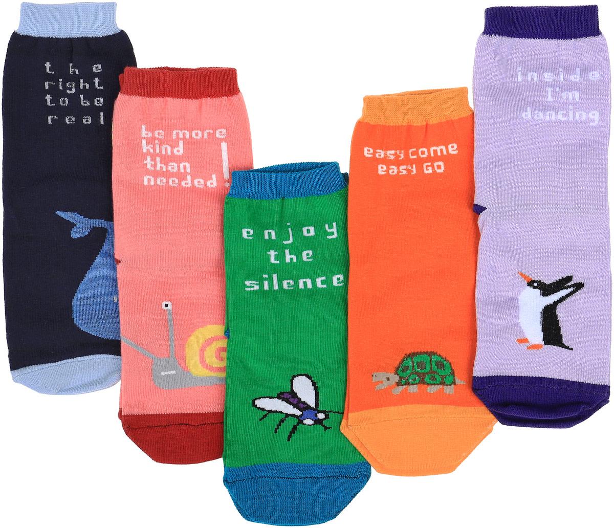 Носки детские Big Bang Socks, цвет: синий, зеленый, оранжевый, розовый, фиолетовый, 5 пар. p01511. Размер 30/34p01511Подарочный набор ярких, оригинальных носков с несимметричными принтами кит, муха, черепашка, улитка, пингвин