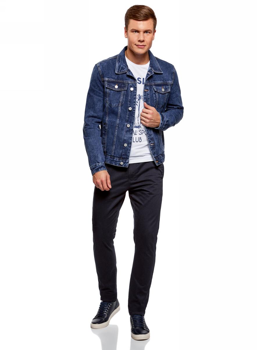 Куртка мужская oodji Lab, цвет: синий джинс. 6L300006M/35771/7500W. Размер XXL (58/60-182)6L300006M/35771/7500WДжинсовая куртка oodji изготовлена из натурального хлопка. Модель с отложным воротником застегивается на пуговицы. Спереди расположены нижние врезные карманы и верхние карманы под клапанами на пуговицах. Рукава дополнены застежками-пуговицами. По бокам куртки имеются пуговицы, регулирующие объем.