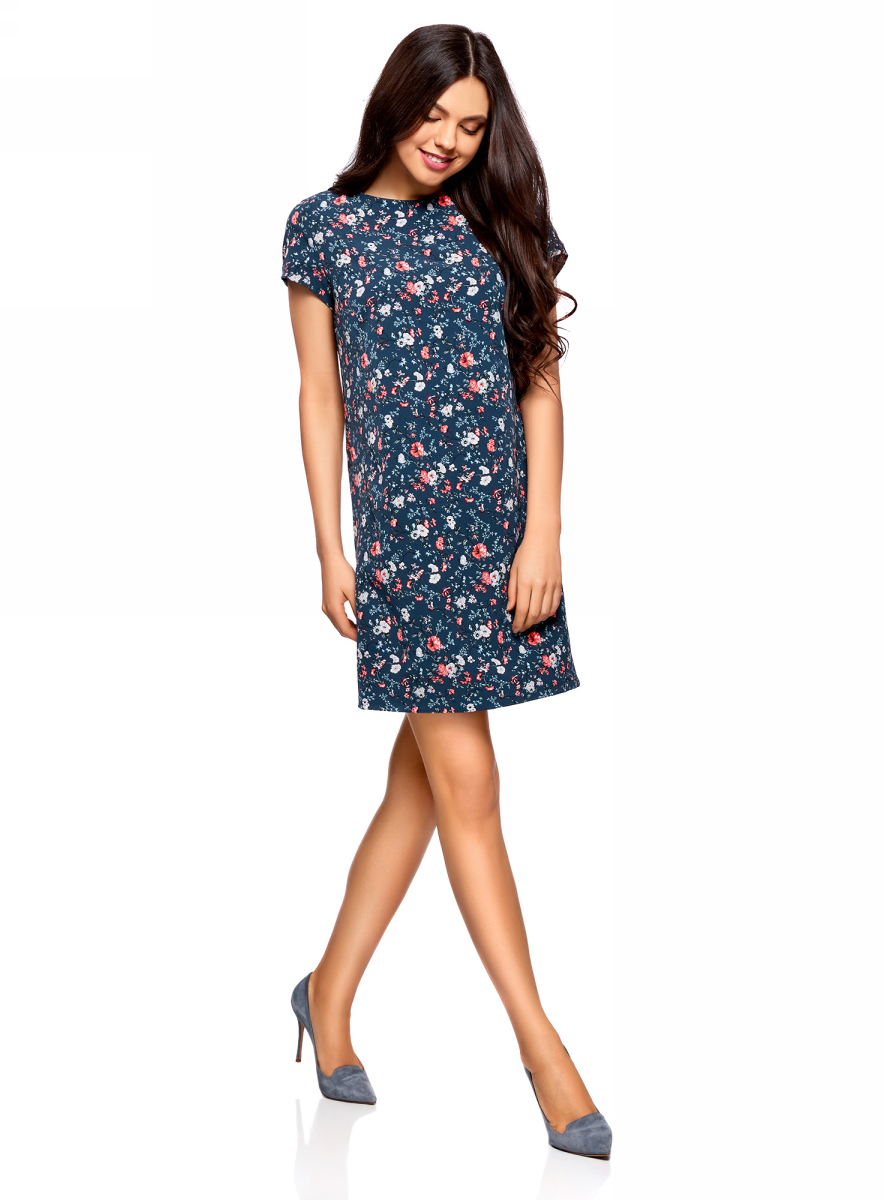 Платье oodji Collection, цвет: темно-синий, ярко-розовый. 22C01001B/42250/794DF. Размер 36 (42-170) earth 2 vol 6