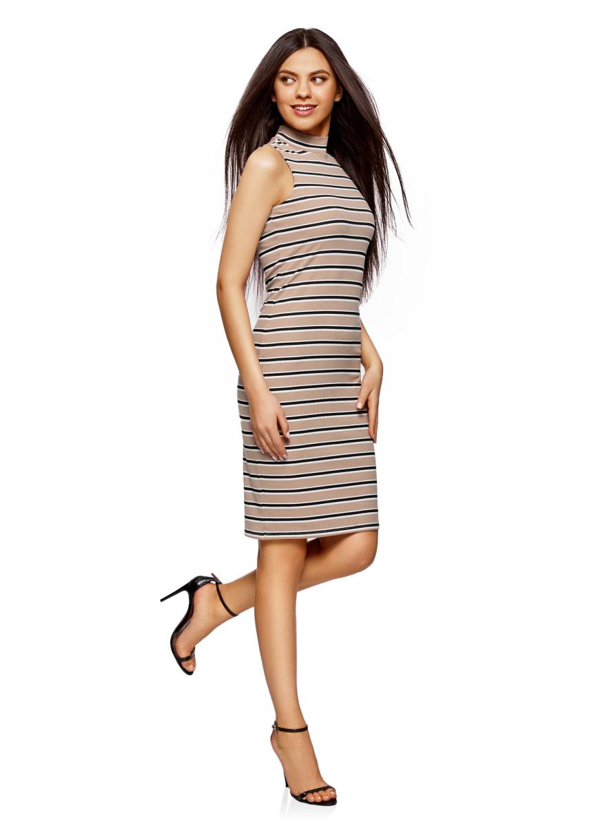 Платье oodji Ultra, цвет: бежевый, черный. 14005138-1/46762/3329S. Размер L (48) платье oodji collection цвет черный белый 24001104 1 35477 1079s размер l 48