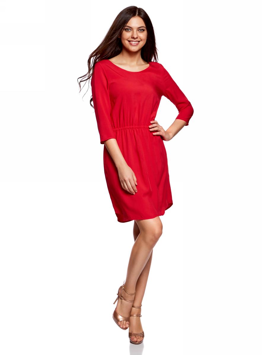 Платье oodji Ultra, цвет: красный. 11901153-1B/42540/4500N. Размер 38 (44-170)11901153-1B/42540/4500NПлатье oodji изготовлено из качественного материала. Модель выполнена с рукавами 3/4 и круглым вырезом горловины. Платье-миди на талии собрано на внутреннюю резинку.