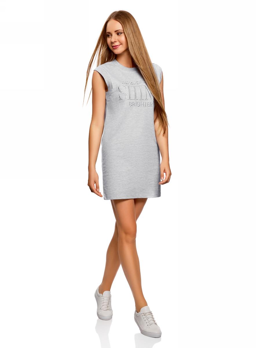 Платье oodji Ultra, цвет: серый, серебряный. 14008015-5/47481/2391Z. Размер M (46)14008015-5/47481/2391ZПлатье oodji изготовлено из качественного плотного материала. Модель выполнена с круглым вырезом и без рукавов. На груди платье оформлено оригинальной вышитой надписью.