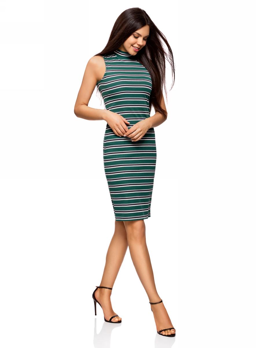 Платье oodji Ultra, цвет: темно-изумрудный, темно-серый. 14005138-1/46762/6E25S. Размер L (48)14005138-1/46762/6E25SТрикотажное платье oodji изготовлено из качественного смесового материала. Модель выполнена с воротником-стойкой и без рукавов. Облегающее платье сзади дополнено разрезом.