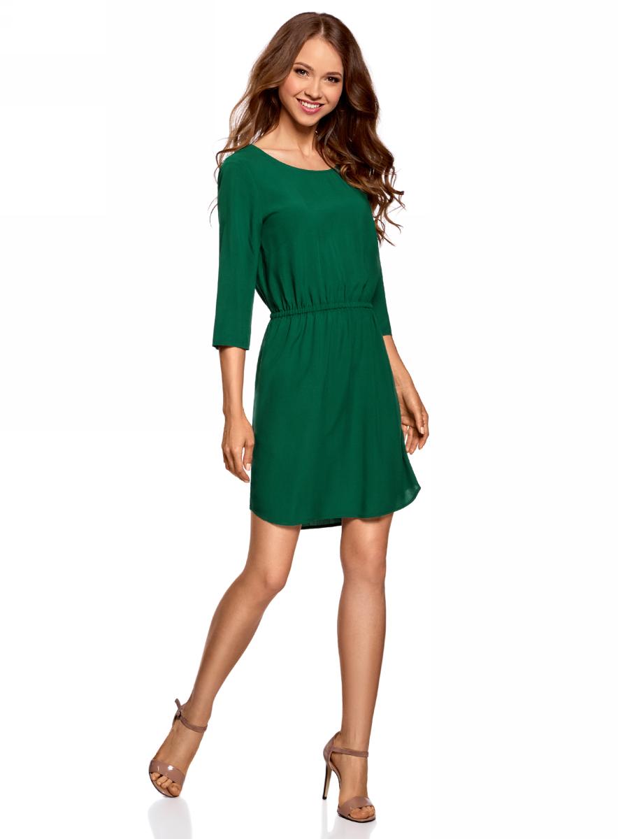 Платье oodji Ultra, цвет: темно-изумрудный. 11901153-1B/42540/6E00N. Размер 34 (40-170)11901153-1B/42540/6E00NПлатье oodji изготовлено из качественного материала. Модель выполнена с рукавами 3/4 и круглым вырезом горловины. Платье-миди на талии собрано на внутреннюю резинку.