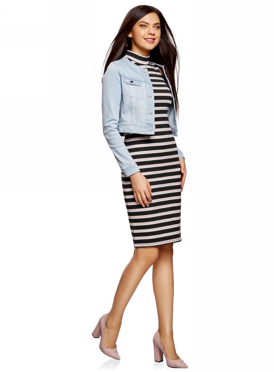 Платье oodji Ultra, цвет: темно-серый, розовый. 14005138-1/46762/2541S. Размер XL (50)14005138-1/46762/2541SТрикотажное платье oodji изготовлено из качественного смесового материала. Модель выполнена с воротником-стойкой и без рукавов. Облегающее платье сзади дополнено разрезом.
