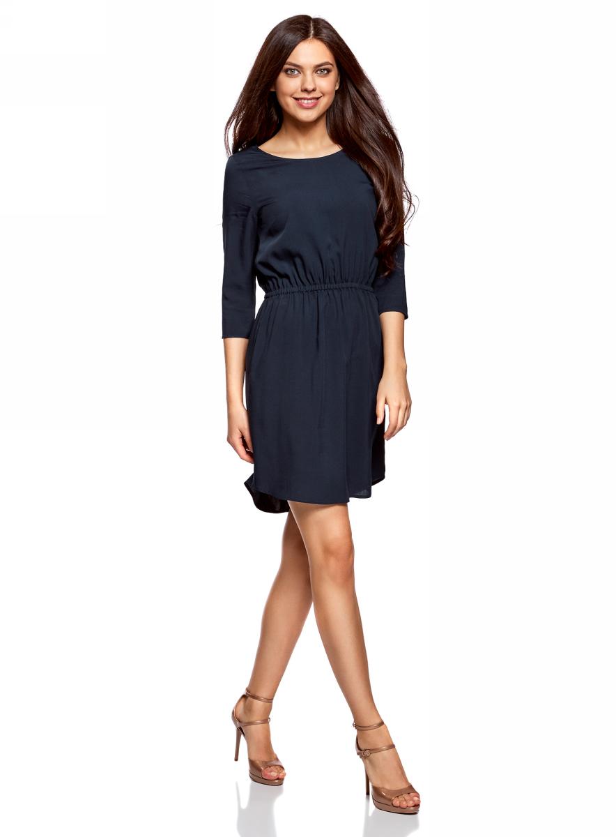 Платье oodji Ultra, цвет: темно-синий. 11901153-1B/42540/7900N. Размер 42 (48-170)11901153-1B/42540/7900NПлатье oodji изготовлено из качественного материала. Модель выполнена с рукавами 3/4 и круглым вырезом горловины. Платье-миди на талии собрано на внутреннюю резинку.