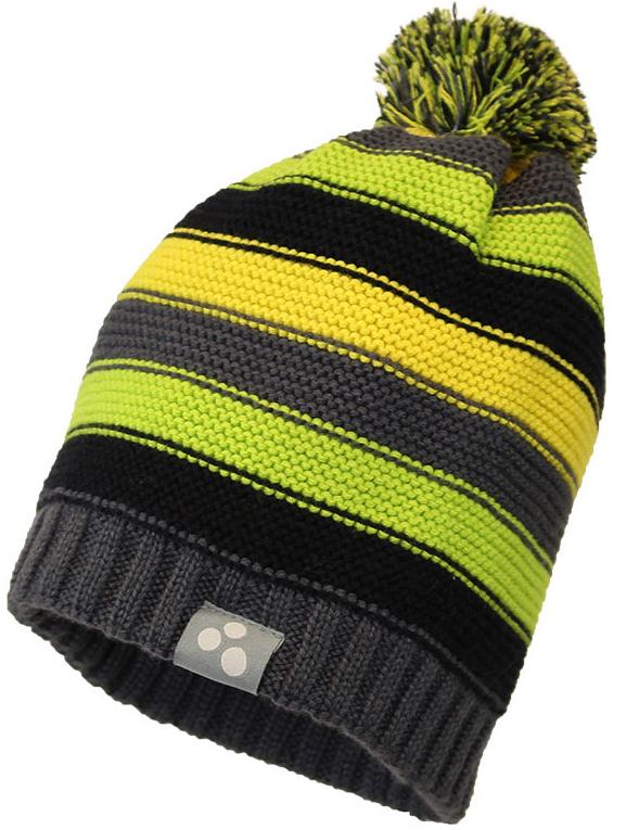 Шапка детская Huppa Neon, цвет: серый, черный, желтый. 80580000-70048. Размер XL (56/58)80580000-70048Теплая шапка Huppa Neon выполнена из мериносовой шерсти с добавлением акрила. Подкладка выполнена из натурального хлопка. Модель дополнена небольшим помпоном.Уважаемые клиенты! Обращаем ваше внимание на тот факт, что размер, доступный для заказа, является обхватом головы.